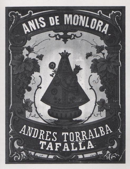 Etiqueta del anís de Monlora.