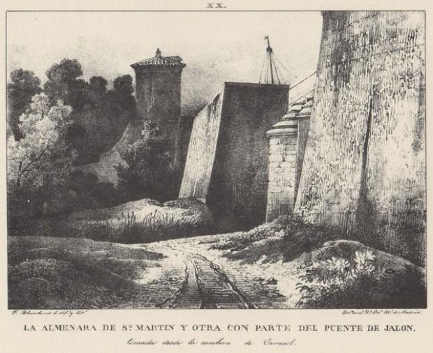 Grabado. Puente sobre el Jalón desde debajo de la muralla y la Almenara de San Martín (1833). Grabato.  Puen sopre lo Xalón dende baxo la muralla y l´Almenara de San Martín (1833)