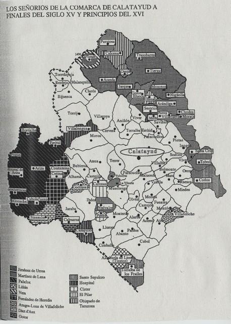 Señoríos comarca Calatayud finales s. XV y principios XVI.- Siñoríos comarca Calatayú á zaguers d´o s. XV y prenzipios d´o XVI